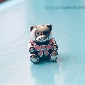 Pandora It's A Girl Bear Charm with pink bow